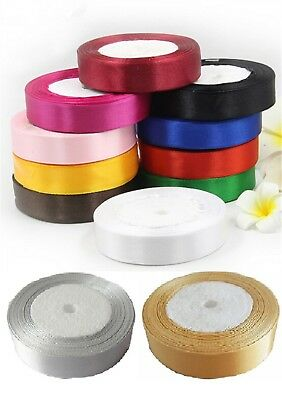 """15 ROLLS of  SATIN RIBBON, 25 MM/1"""", 15 nice Colours, High Quality, RRP £30.00"""
