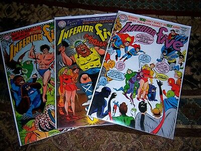 Lot Of 3 Silver Age  DC Comics INFERIOR FIVE #3, 4, 6 Sharp & Glossy