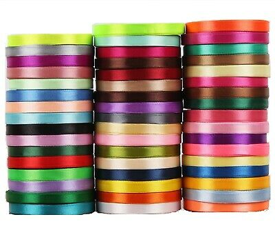 50 x Rolls OF SATIN RIBBON, 50 Colours, 700 YARDS 6 MM, RRP £50, Bargain