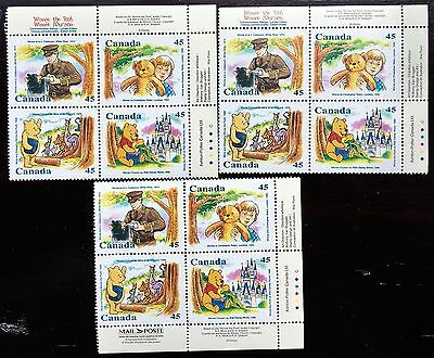 Lot of 3 Canada 1996 Winnie The Pooh Sheet of 4 Limited Edition Stamps