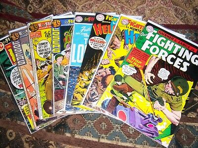 Lot Of 8  DC War  OUR FIGHTING FORCES #90-142, Gunner & Sarge, Losers, Hellcats
