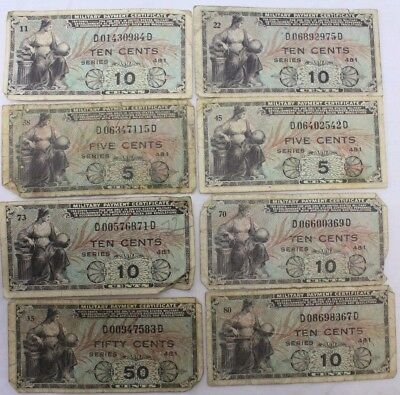 1951 USA 10, 5, 50 Cents Military Payment Certificate Notes - LOT of 8