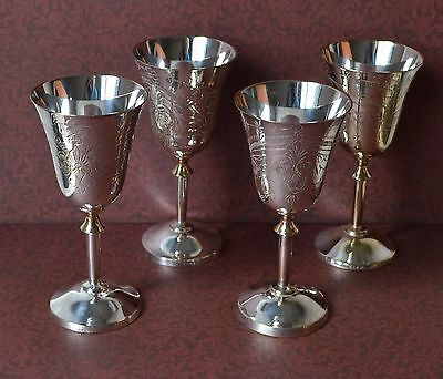 SET 4 VTG Metal Silver Plated Cups Goblets Wine Glasses, Engraved Candle Holders
