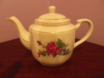 Fab Vintage Chinese Porcelain Rose Flowers Design Teapot 10 Cms Tall