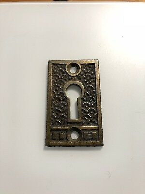 Vintage Ornate Victorian cast brass key hole escutcheons cover