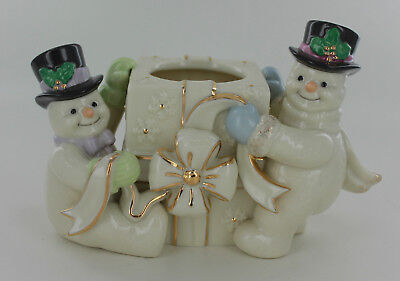 New Lenox The Snowman Votive from 2000 - 2 Snowman with a Gift