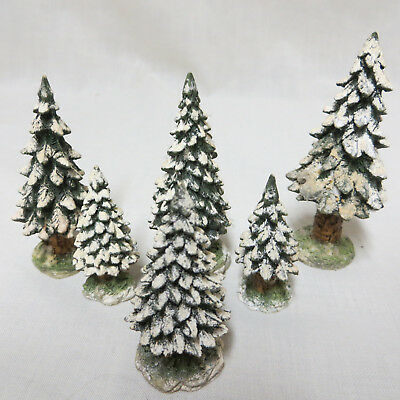 Dept 56 Christmas Village Snowy Evergreens Trees Set of 6 52612 Town Accessory