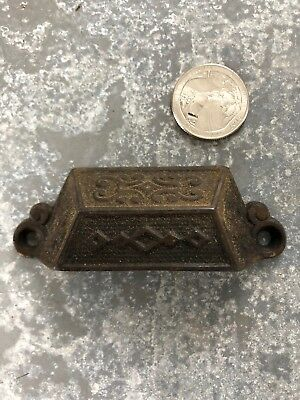 Vintage small ornate Victorian Cast Iron drawer bin pull handle old 1871 patent