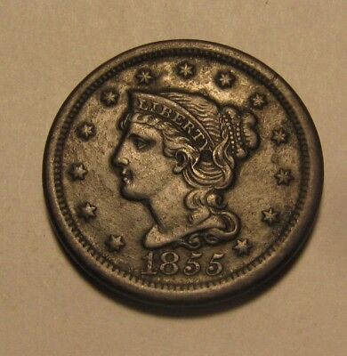 1855 Braided Hair Large Cent Penny - AU Condition - 82SA
