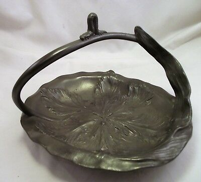German Art Nouveau Pewter Fruit Basket Kayserzinn - Caterpillar Design