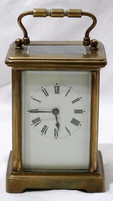 Beautiful Antique French Four Glass Brass Carriage Clock Made in France