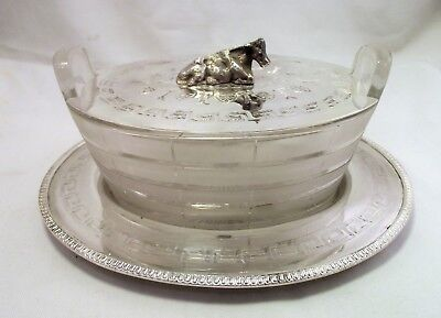 Victorian Silver Plate & Glass Butter Dish - Cow Finial