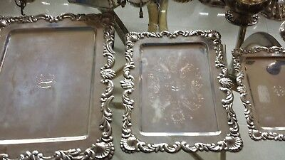 940g SET 3 TRAY FRENCH CARVING FLOWER ROLEO DESIGN STERLING SILVER:MONTEJO/PFDEZ