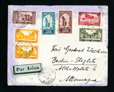Morocco Stamps 1932 Cover Sent Air Mail