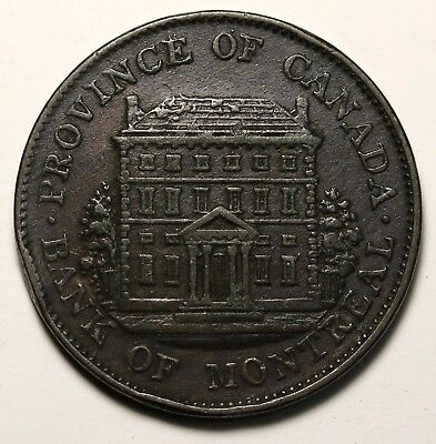 Lower Canada Bank of Montreal Halfpenny 1842 Token  KM. Tn18