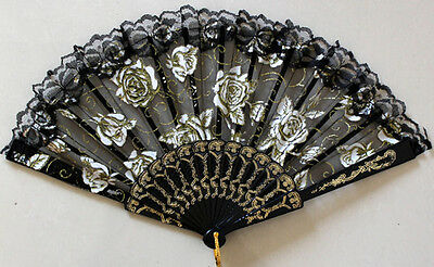NEW! Asian Chinese Brocade Pattern Silk Black Hand Held Folding Fan