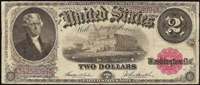 Large 1917 $2 Two Dollar Bill United States Legal Tender Note Big Paper Money