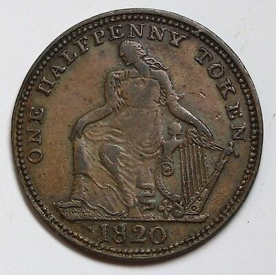 Canada Irish Harp / Trade & Navigation Halfpenny 1820 Token Breton 894 RARE