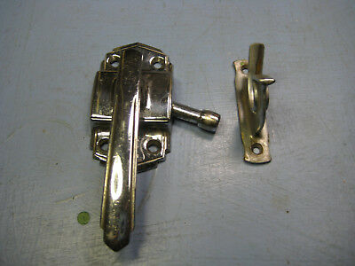 Deco Style Ice Box Brass Latch & Receiever, Excellent Condition Brilliant Finish