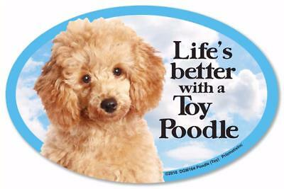 """Life's Better With A Toy Apricot Poodle Dog Car Fridge Plastic Magnet 6"""""""