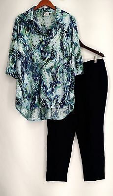 Women with Control Petite Size Set 1XP Printed Tunic and Ankle Pant Blue Womens