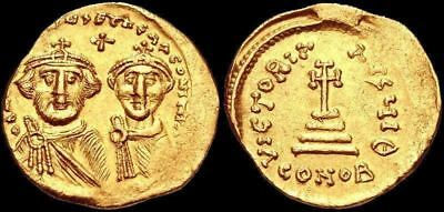 Heraclius, with Heraclius Constantine. 610-641. Gold Solidus, Cross potent
