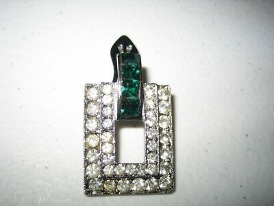 Vintage 30s Art Deco Clear & Emerald Brooch Dress Clip