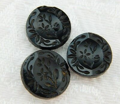 LOT of 3 matching VINTAGE ANTIQUE GLASS FLOWER PICTURE BUTTONS