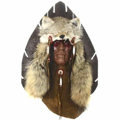"""Wolf Hunter Kindred Spirit Mask Ltd Edition by NW Indian D Black Wolf 26 x 16.5"""""""