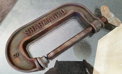 Old Antique Sharmanco # 9 Engineers 10 Inch G Clamp Vintage Hand Tool #1