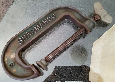Old Antique Sharmanco # 9 Engineers 10 Inch G Clamp Vintage Hand Tool #2