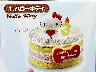 Miniatures Sanrio Character Birthday Cakes #1, Hello Kitty , 1pc - Re-ment     ,