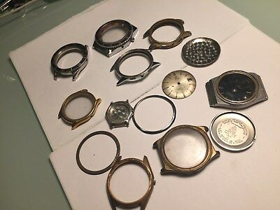 Large Lot Of Vintage Omega Breitling Ebel Wristwatch Chronograph Cases And Parts