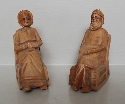 "Antique Miniature Wood Carving ""Andre Bourgault"" Figures on Rocking Chairs Treen"