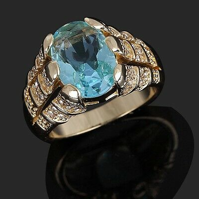 Solitaire Size 8-12 Fashion Aqua 10KT Gold Filled Lovers'  Anniversary  Rings