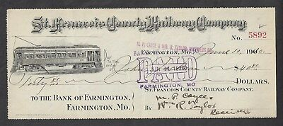 "1910 Farmington Missouri Bank Draft ""Trolley Car"""