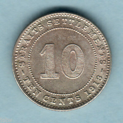 Straits Settlements. 1918 10 Cents..  Much Lustre..  gEF/aU