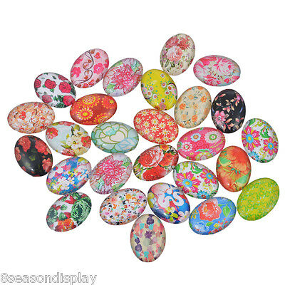 20x Glass Mix Flower Oval Cameo Cabochon for Jewellery&Model Making