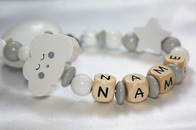 Personalised Wooden dummy clip * CLOUD* Baby Chain / Strap Baby Present