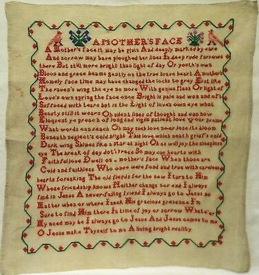 "LATE 19TH CENTURY ""A MOTHER'S FACE""  VERSE SAMPLER - c.1890"