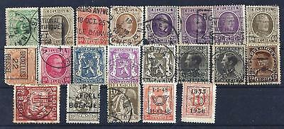 Lot of 21 Early Belgian stamps used
