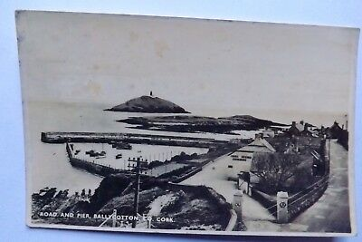 Vintage Irish Real Photo P/C - Road And Pier, Ballycotton, Co Cork - Posted ' 52