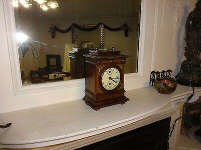 Rare Antique Junghans 3 Dial ,gilded, Oak Cased Desk / Mantle Alarm Clock
