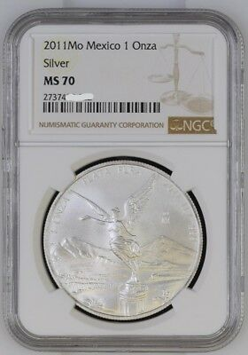 2011 Mo 1 OZ NGC MS70 SILVER ONZA LIBERTAD of MEXICO BRIGHT TOP POP FRESH SLAB