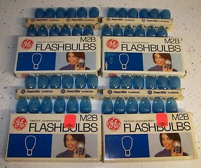 48 Vintage GE PowerMite M2B Blue Flashbulbs M-2B Flash bulbs