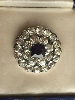 Lovely Antique Edwardian Clear + Sapphire Blue Paste Crystal Lace Pin Brooch