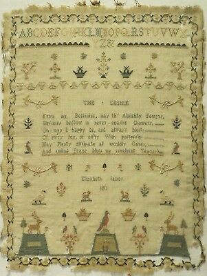 "Early 19Th Century Motif & ""the Desire"" Verse Sampler By Elizabeth James - 1811"