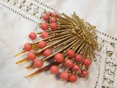 Gorgeous Art Deco Coral Glass Hair Comb   hinged setting