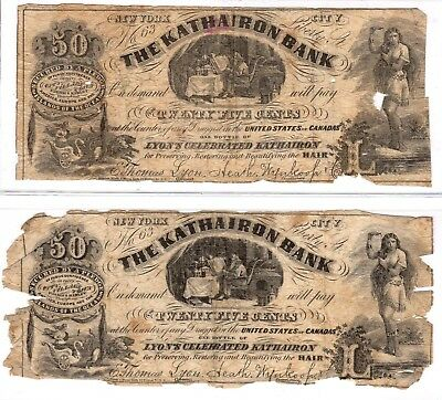 New York - Kathairon Bank - $0.25 - 2 ad notes from NYC