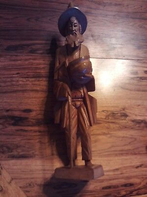Wooden Carved Statuette of an Old Man - Asian?